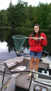 Morgan's Big Red brought her some luck in Wisconsin where she caught her first fish!